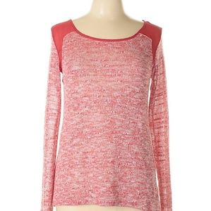 Gibson SHEER Shoulders Thin Knit Marled Sweater S